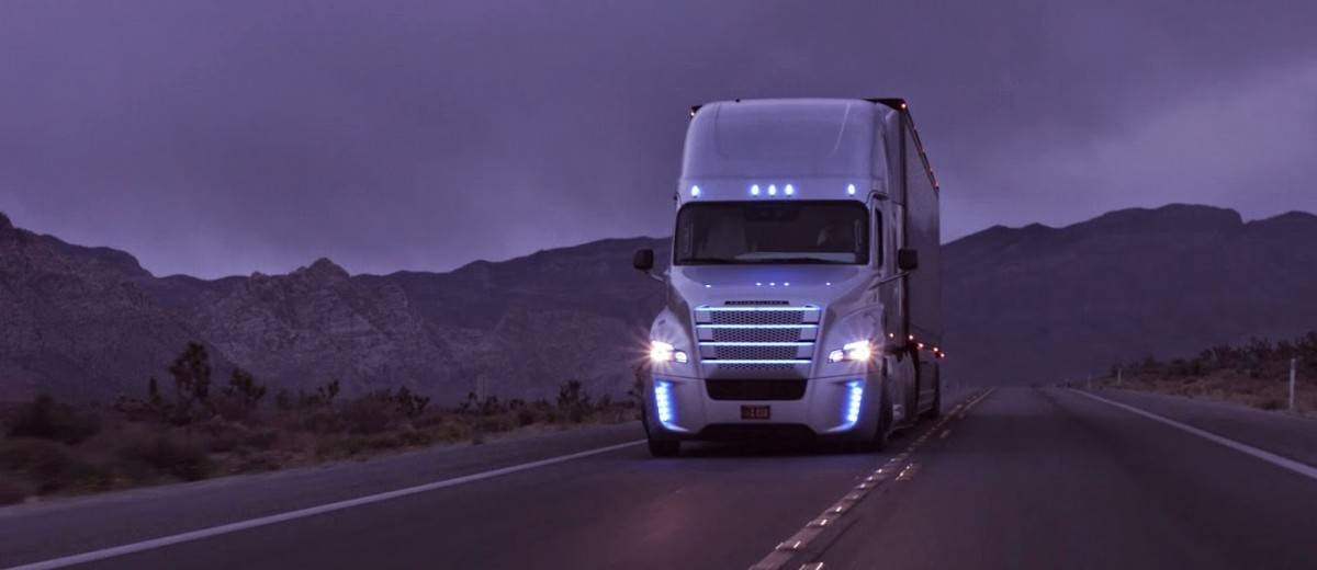 Commercial Truck at Night